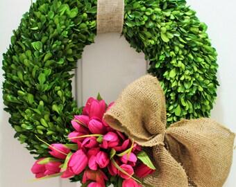 Spring wreath ,silk tulip wreath ,  boxwood wreath , preserved boxwood wreath  ,front door wreath