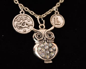 Necklace with owl pendant with rhinestone dicroic, free pendant with initials or zodiac sign