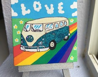 Love is a teal glitter VW mini painting