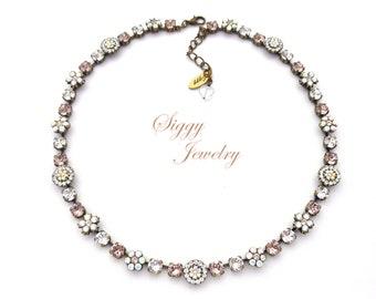 Swarovski® Crystal Necklace, Victorian Style, Heirloom Flower Embellished, 6mm Vintage Rose, Crystal Moonlight, AB, GENEVIEVE