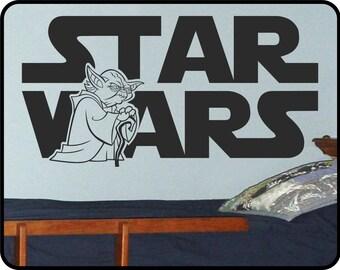 "Star Wars wall decal with Yoda - Star Wars art removable vinyl sticker  44"" x 23"""