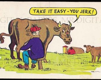 Antique Postcard / Humorous Card / Funny Postcard / Digital Instant Download / Paper Ephemera / Man Milking Cow / Vintage Postcard