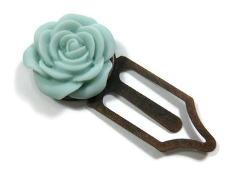 Resin Pale Blue Rose Flower Book Mark