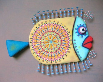 Zen Goldfish, Fish Wall Art, Original Found Object Wall Sculpture, Wood Carving, Marine Art, Mandala Art, by Fig Jam Studio