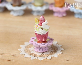 """MTOEaster """"Showstopper Cupcake (O) - White Rabbit, Coloured Easter Eggs, Green Stand - Miniature Food in 12th Scale"""