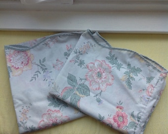 Pair of light blue pillowcases........shabby cottage style.....roses and scalloped edges