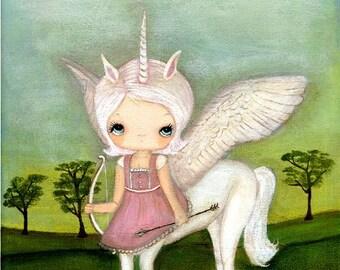 Unicorn Print Whimsical Fantasy Girl Wings Wall Art---Uma