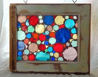 Vintage Window--Mosaic Planets