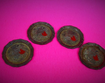 Lot of Four Metal Coasters~Patina~World's Fair 1982~Knoxville, Tennessee