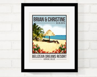 Destination Wedding Gift for Couple, Personalized Wedding Gift, Custom Location Poster, First Anniversary Gift, Honeymoon Keepsake, Artwork