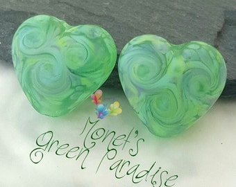 Lampwork Beads Monet's Green Paradise Hearts Pair