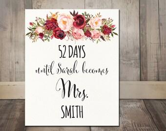 Days Until Mrs Boho Bridal Shower Sign Printable - Bohemian Bridal Shower Days Until Wedding Sign, Boho Burgundy Marsala Watercolor Flowers