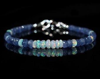 Sapphire & Opal Beaded Bracelet, Genuine Burmese Sapphire AAA Ethiopian Fire Opal Jewelry,September October Birthstone, Mother's Day Gift