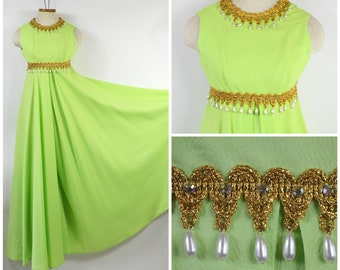 1960s 1970s Lime Green Jump Suit XS Wide Leg Palazzo Pants Gold Gimp Trim with Dangling Tear Drop Pearls Fabulous Home Sewn Dress