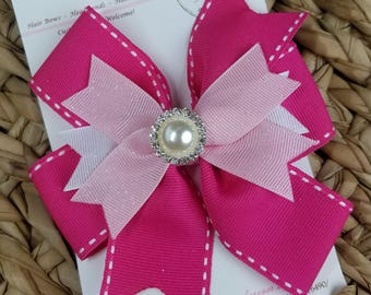 Boutique Hair Bow - Pink Pearl Pin Wheel - Alligator Clip