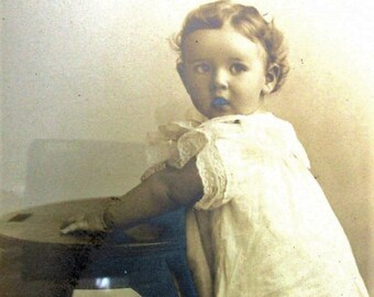 Antique Portrait Baby Toddler Photographs 5 Sepia Toned Photos Framed 1909