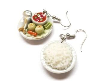 Rice + Naphrik kapi earring | Thai foods earring| Food earring | Food Jewelry | Miniature Foods | Thai Foods | Gift | Earring Cute