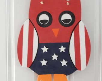 Patriotic Owl Hand Painted Wooden Custom Door Hanger