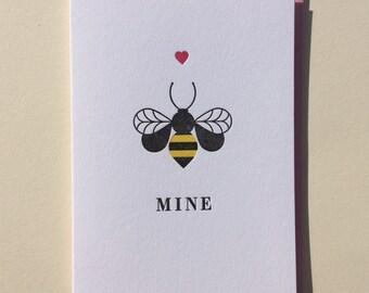 Bee Mine : Single Letterpress Card