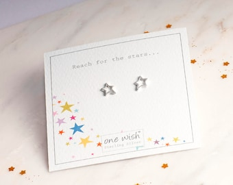 Star Stud Earrings, Silver Star Earrings, Quirky Star Studs, Inspiration Earrings, Pretty Star Jewellery, Sterling Silver Star Stud Earrings