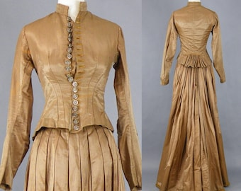 Victorian Brown Silk Dress, Antique Victorian Jacket and Bustle Skirt, Steampunk Dress, 1800s Dress