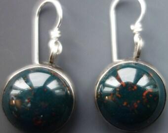 Bloodstone Sterling Earrings