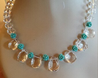 Faceted quartz and turquoise carved roses one strand necklace