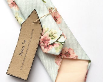 Mens floral tie, cherry blossom print tie, pink and blue tie, duck egg blue, mens skinny tie, mens wedding tie