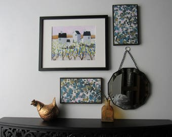 "4 piece wall art - ""Winter Slush"" - original acrylic painting - wall gallery -home decor"