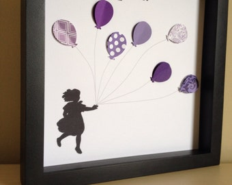 Girl with balloons, 3D Paper Art - perfect for your nursery, little girls room, or as a gift