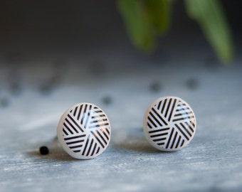 Mens Earrings, Geometric Stud Earrings, Stud Earings, Tribal Earrings, Abstract Earrings, Striped Earrings, Small Earrings