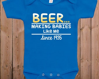 Funny baby clothes newborn baby clothes beer gift for dad gift for mom baby gift idea baby bodysuit one piece romper