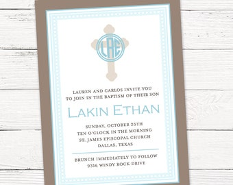 Boy First Communion invitation - Printable File or Printed Cards with Envelopes