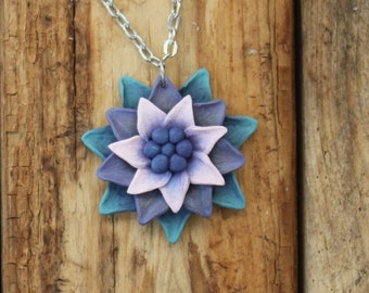 Whimsical Flower Pendant Necklace - Pink Layered Petals