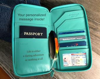 Travel wallet organizer, leather passport wallet, passport holder, travel wallet, personalized wallet passport cover, turquoise 7505