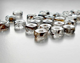 25 Crystal Tortoise Fire Polished Czech Rondelle Beads, 6mm Rondelles, Czech Beads, Beads, Supplies, Jewelry Supplies, Jewelry Making