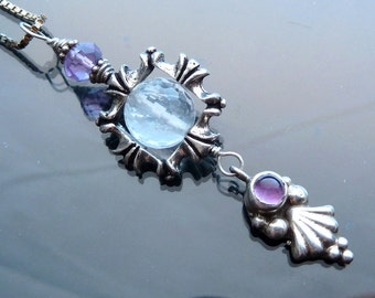 Frozen Ice Crystal Icicle necklace in sterling silver with purple amethyst leaf ball dangle OOAK jewelry