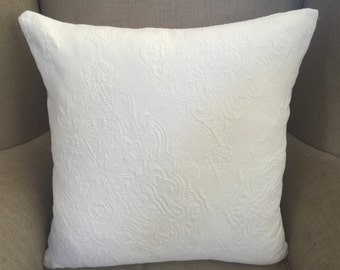 Large Cushion Cover/Pillow in P. Kaufmann Gallant White Upholstery Weight Fabric