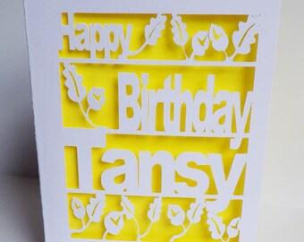Birthday Card, Oak leaf and acorn, Cut Out Card,  Oak leaf and acorn Birthday Card, Personalised Birthday Card