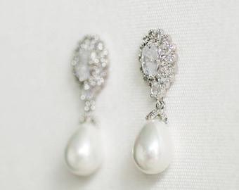 Wedding Pearl Wedding Earrings,  CZ & Pearl Bridal Earrings,  Bridal Earrings, Pearl Wedding Earrings