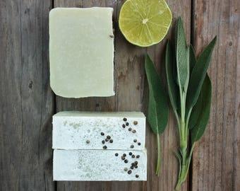 Citrus Sage Bar Soap - All Natural Soap, Cold Process Soap, Handmade Soap, Vegan Soap,  Hemp Soap, Citrus Soap, Palm Free Soap