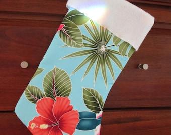 Hawaiian Print Christmas Stocking