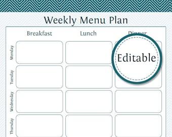 Weekly Menu Planner - Fillable - Printable PDF - Instant Download