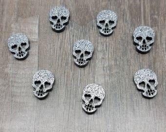 12mm Black and Silver Glitter Skull Laser Cut Acrylic Cabochons - 10 Pcs
