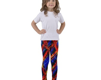 Kid's leggings bold abstract pattern in red and blue