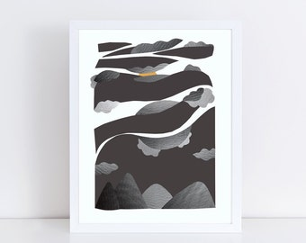 Mountain print, mixed media art, black and white print, landscape photography, mixed media collage art, abstract landscape, vintage photos