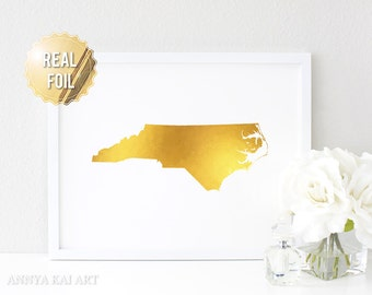 North Carolina Wall Art - NC State - Gold Foil North Carolina Map - Real Gold Foil - North Carolina Home Love Gift - Gold NC