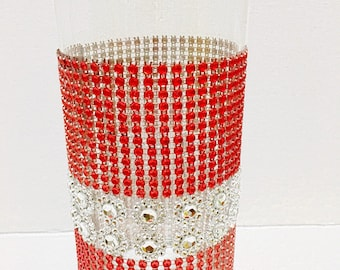 Bling Rhinestone Wedding Centerpiece (Set of 2) Dual Color Silver And Red Bling Vases-Centerpiece, Floral Vases For All Occasions.
