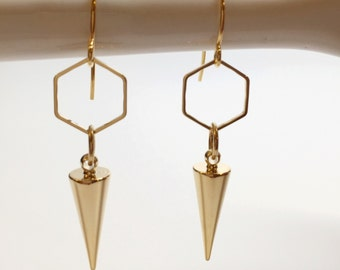 Gold spike earrings, edgy earrings, geometric earrings, gold spike earrings, hexagon earrings, pointy earrings, gold hexagon earrings