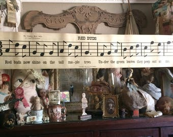 For The Lover Of Music Antique Large Double Sided Music Scroll